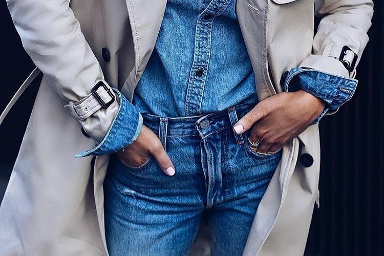 c8753a8d9c7 Spring Basics  Double Denim Outfit Under Cream Grey Trench Coat · Blogger  Instagram Fashion