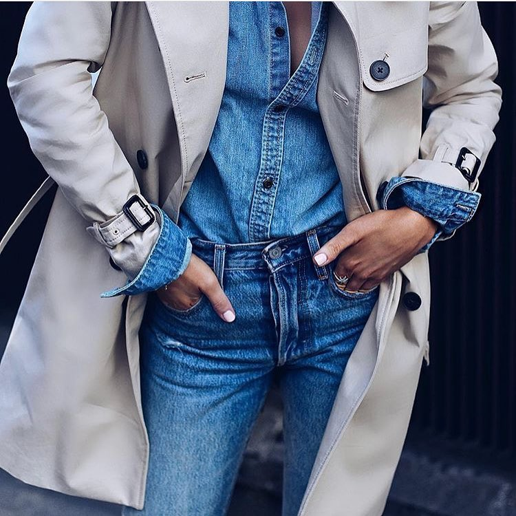 Spring Basics: Double Denim Outfit Under Cream Grey Trench Coat 2020