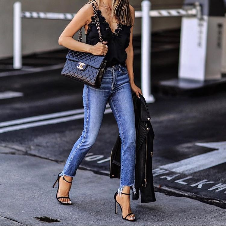 What To Wear In Spring For 25 Old Ladies: Slip Tank, Slim Jeans And Biker Jacket 2020