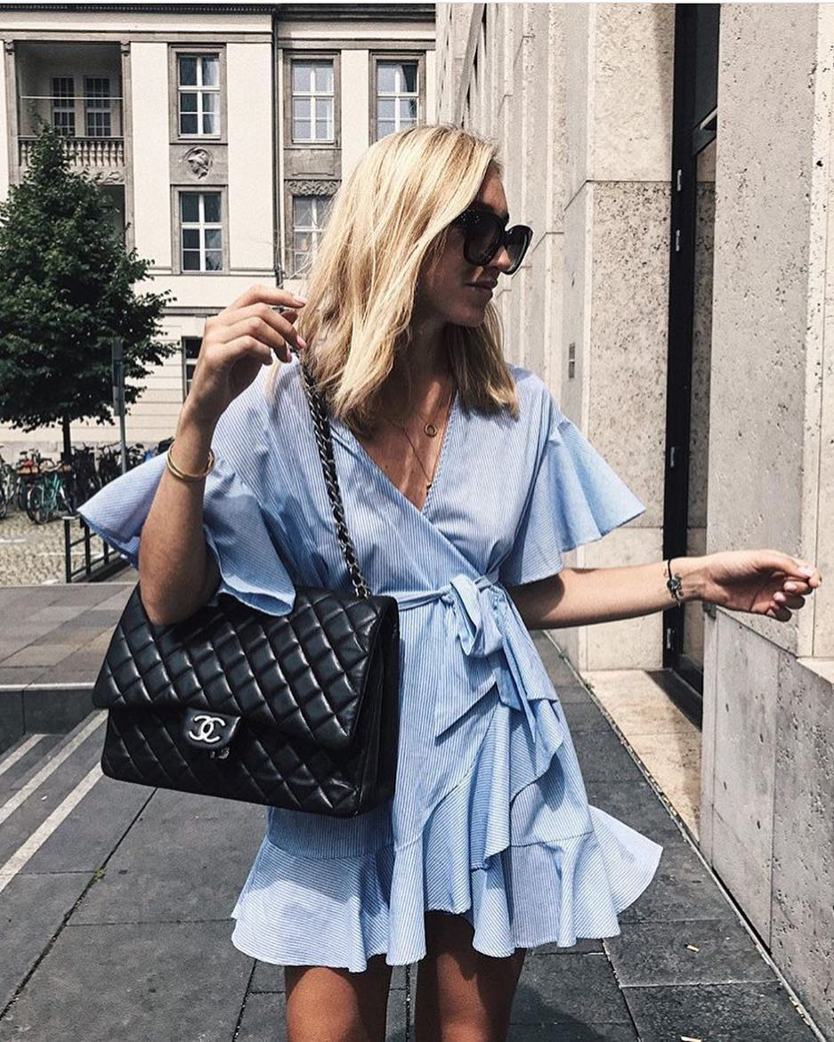 Wrap Belted Dress With Ruffles In Blue Pinstripe For Summer 2020