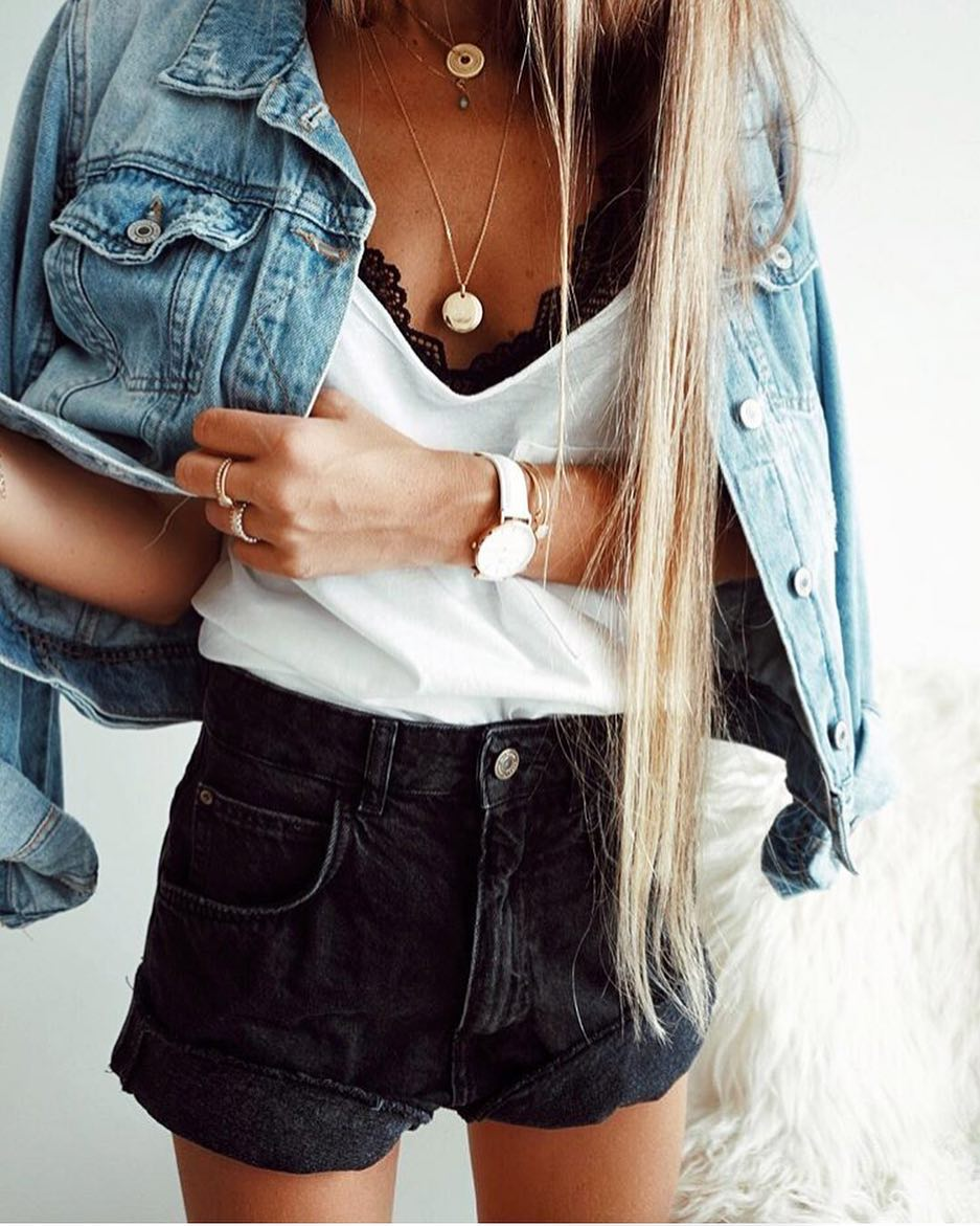 Perfect Double Denim Look For Summer: Blue Jacket And Charcoal Shorts 2020