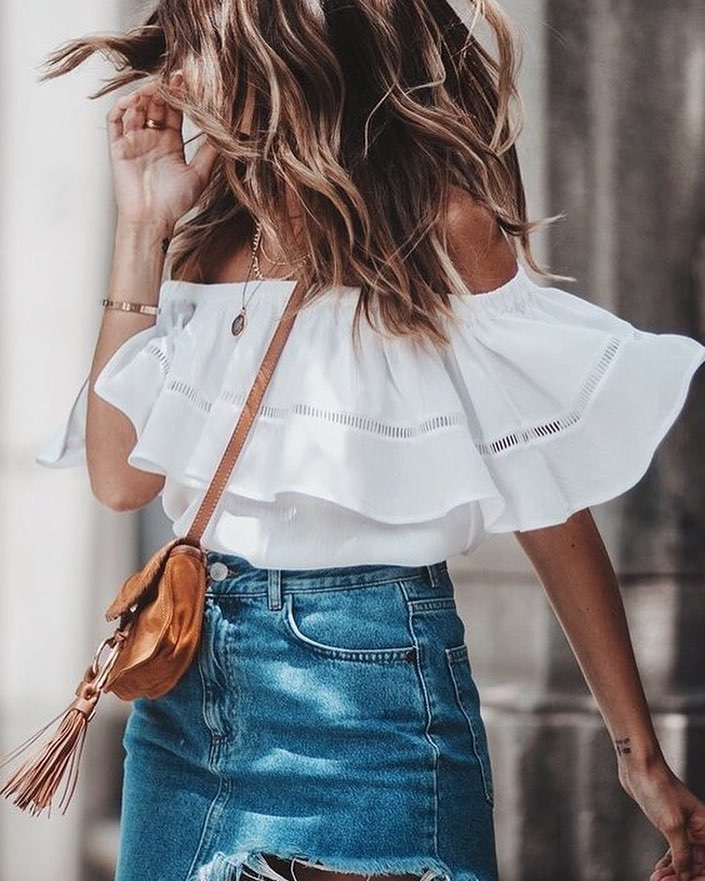 2bb77a9dc74f6 Summer Must Try  Off-Shoulder Ruffled Top Tucked In Blue Frayed Denim Skirt  2019