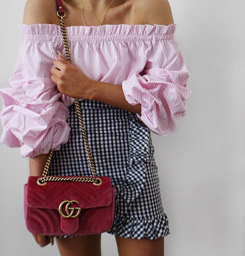 Cute Summer Outfit: Off Shoulder Pink Pinstripe Blouse And Black-White Gingham Skirt 2019