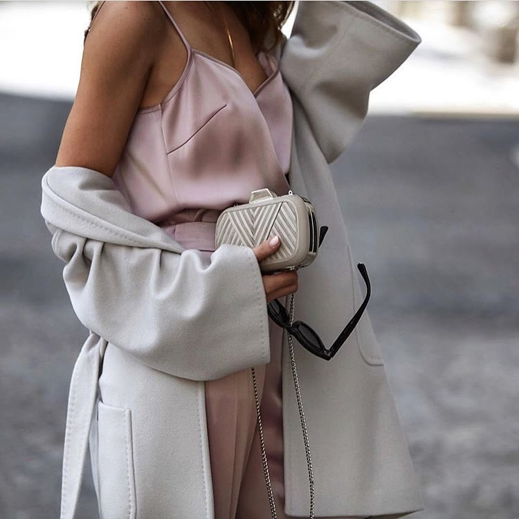 Paris Style In Pastel: Oversized Coat, Silk Slip Tank And High Rise Wide Pants 2019