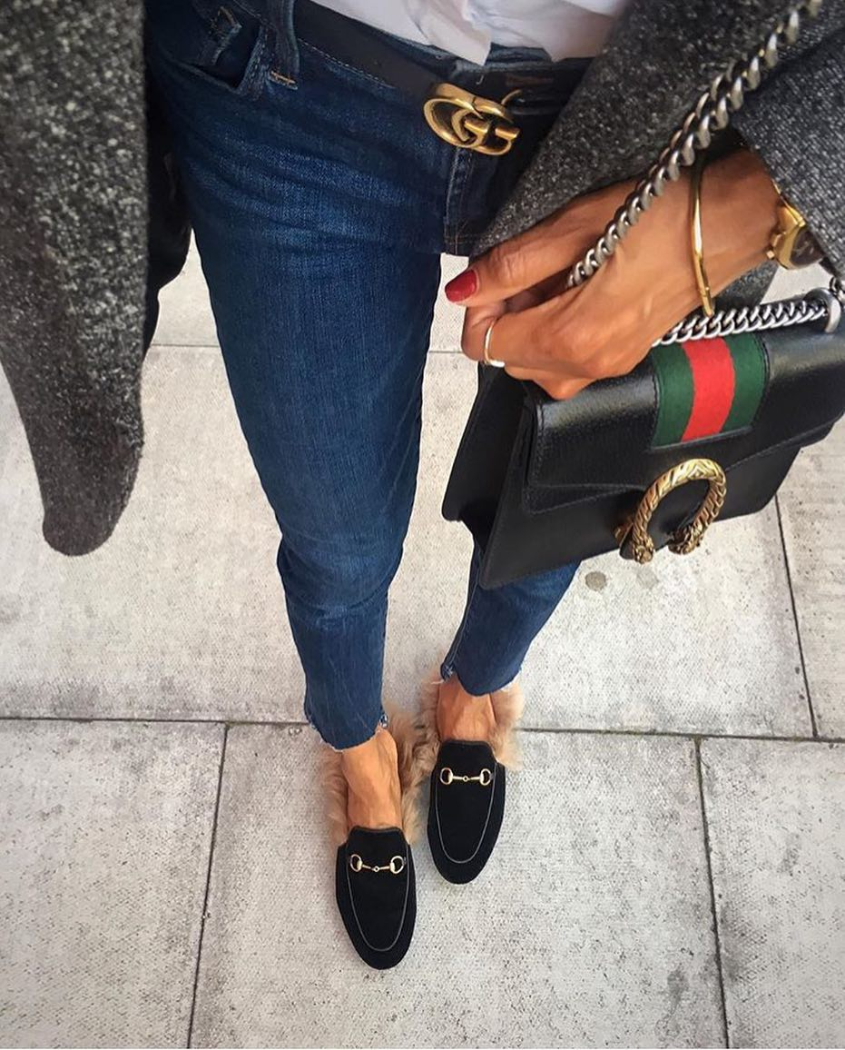 Fur Mules, Blue Jeans, Grey Coat And