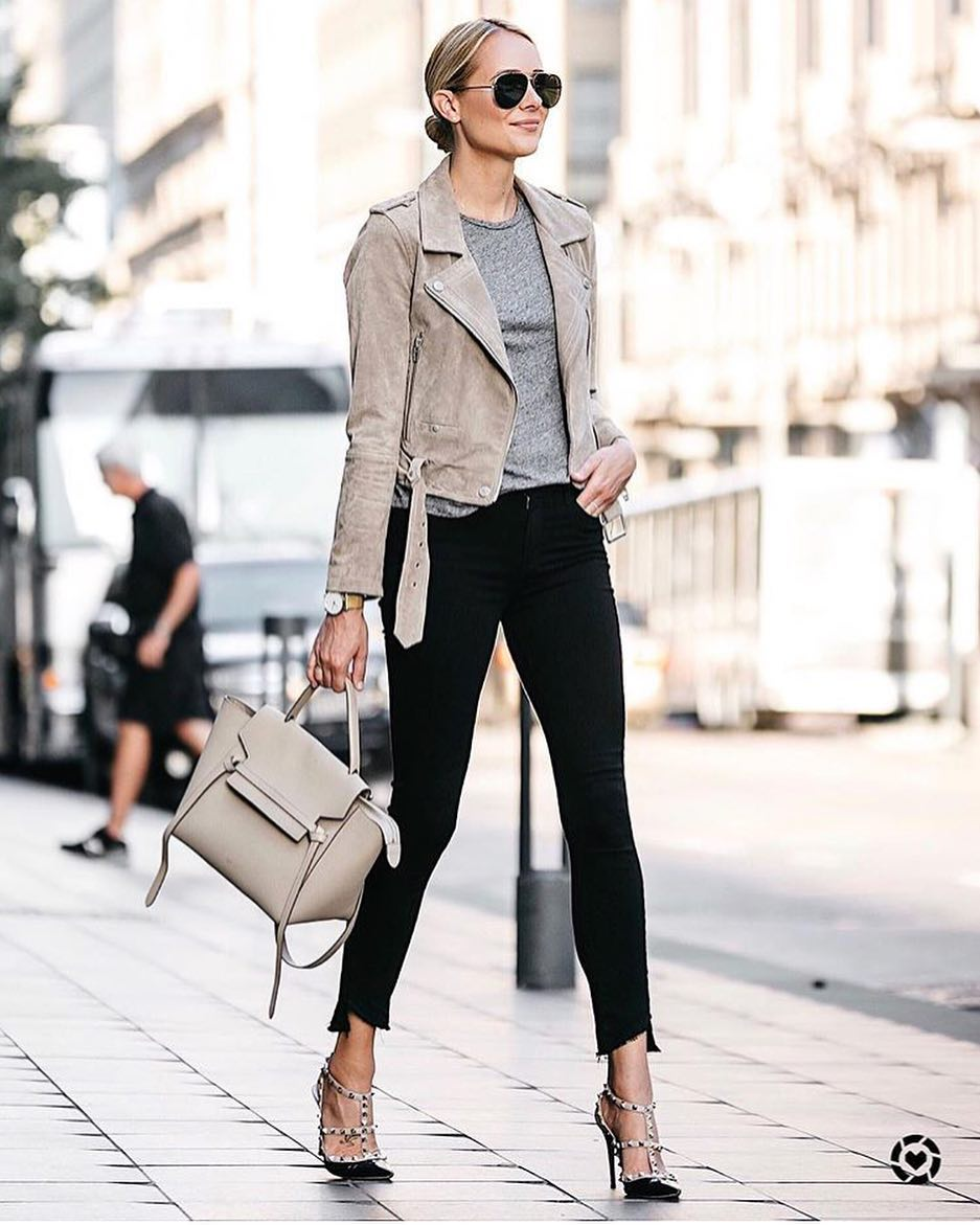 Modern New Yorker Style: Grey Biker Jacket, Black Skinnies And Studded Pumps 2019