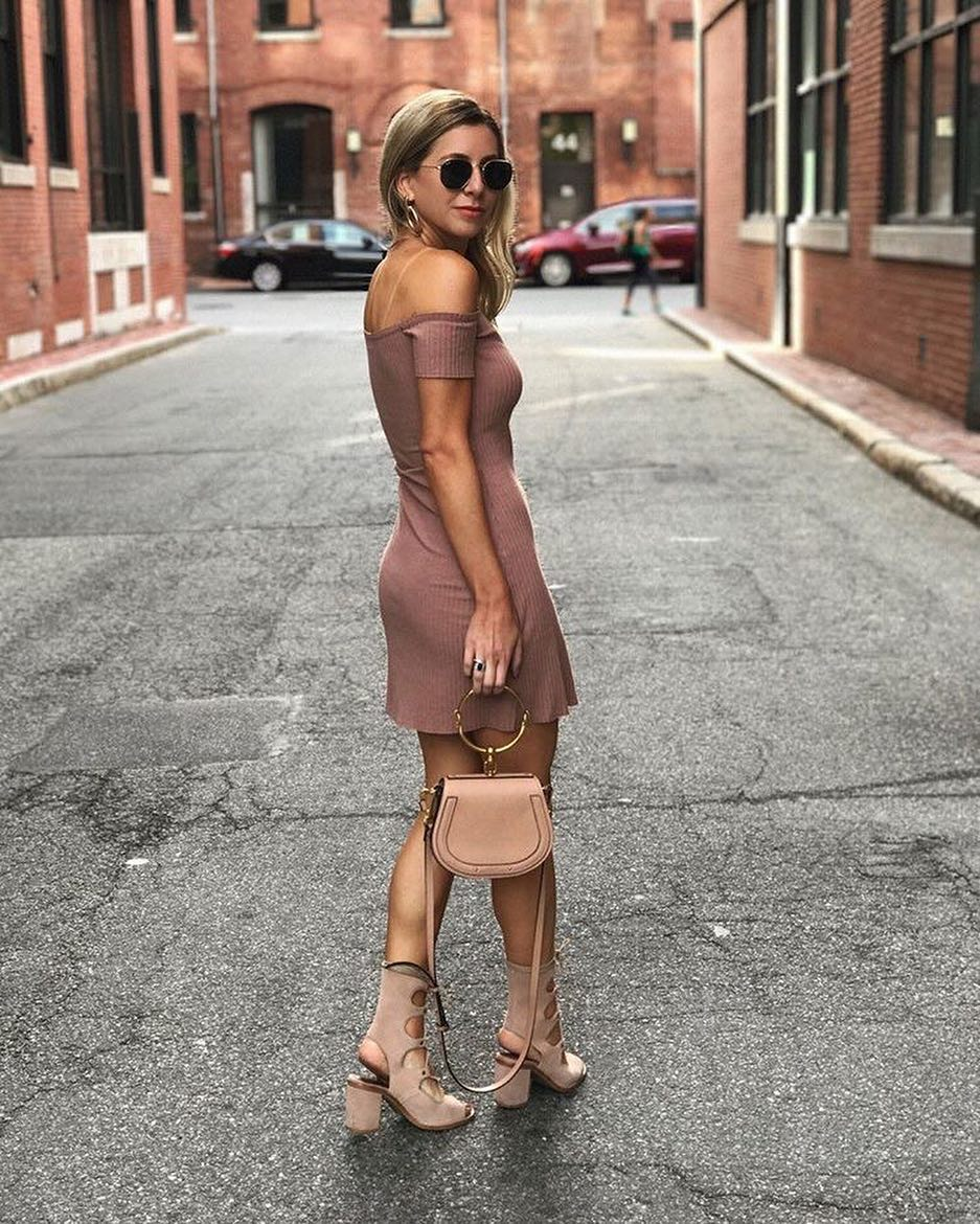 New York City Summer Outfit: Off Shoulder Beige Dress, Cut-Out Heels 2019