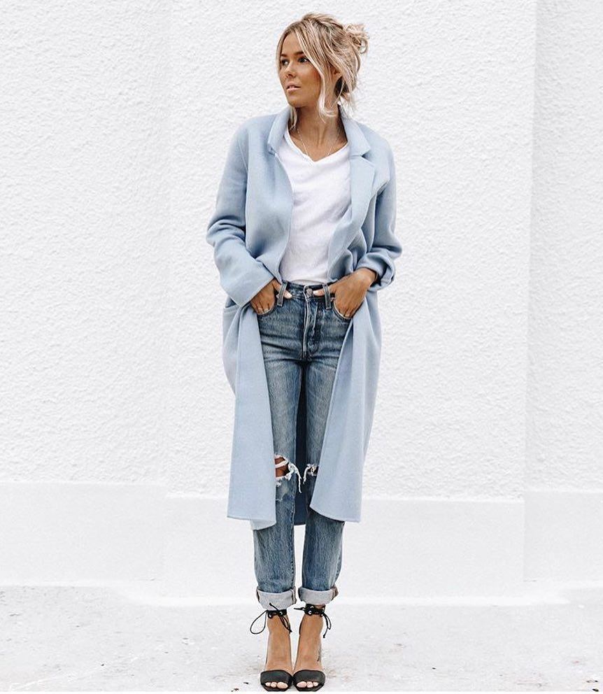 How To Wear Long Pastel Blue Coat This Spring 2020
