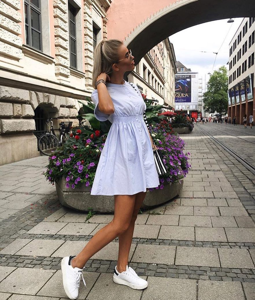 Pastel Collarless Sundress And White Sneakers: Summer Essentials 2020