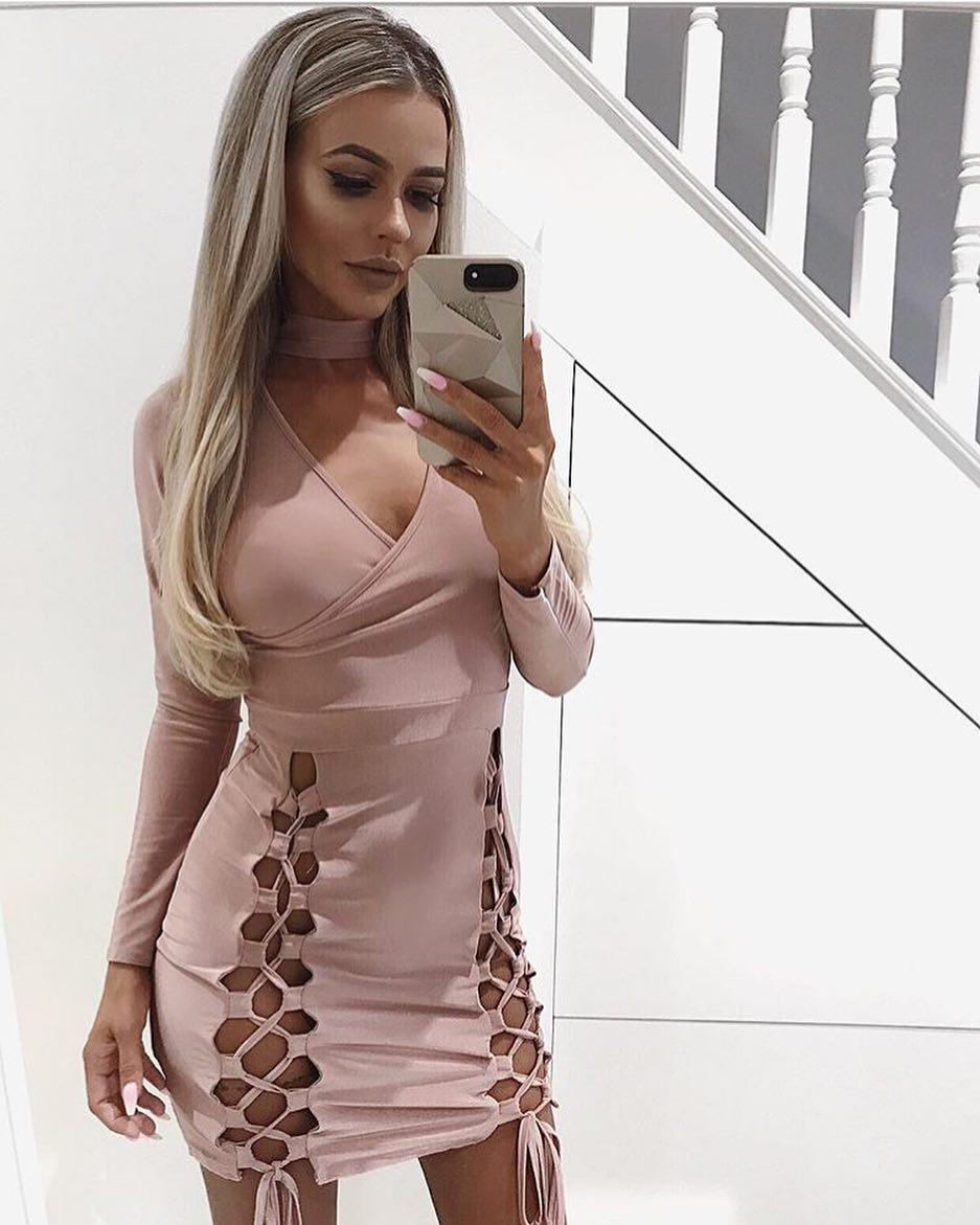 Blush Bodycon Dress With Lace-up Details 2020