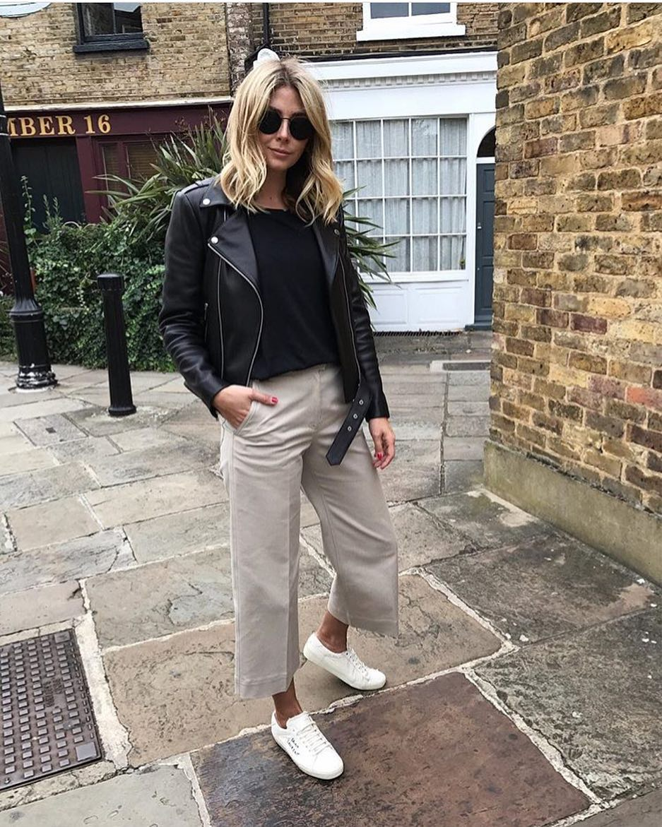 London City Outfit Idea For Spring: Biker Jacket And Culottes With White Kicks 2019