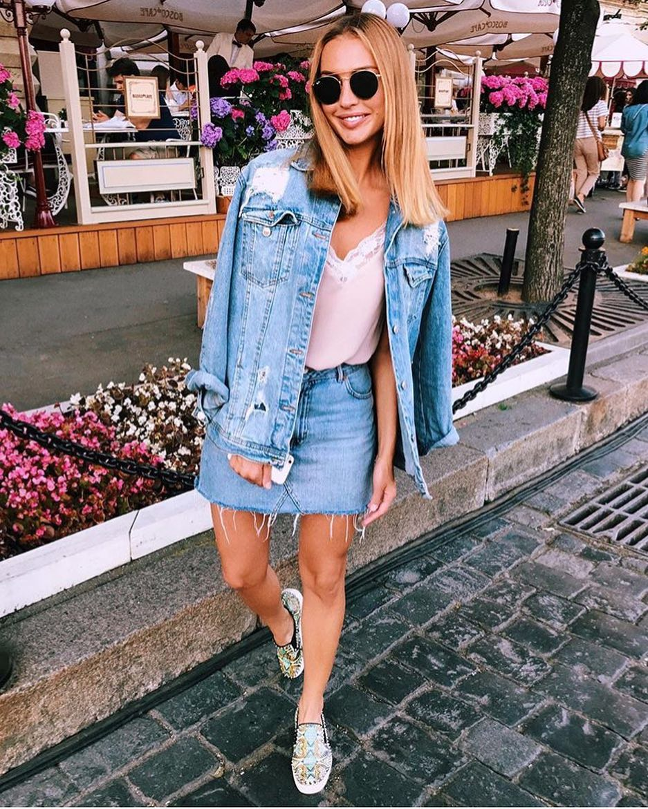 Best Double Denim Outfit For This Summer: Ripped Jacket And Frayed Skirt 2020