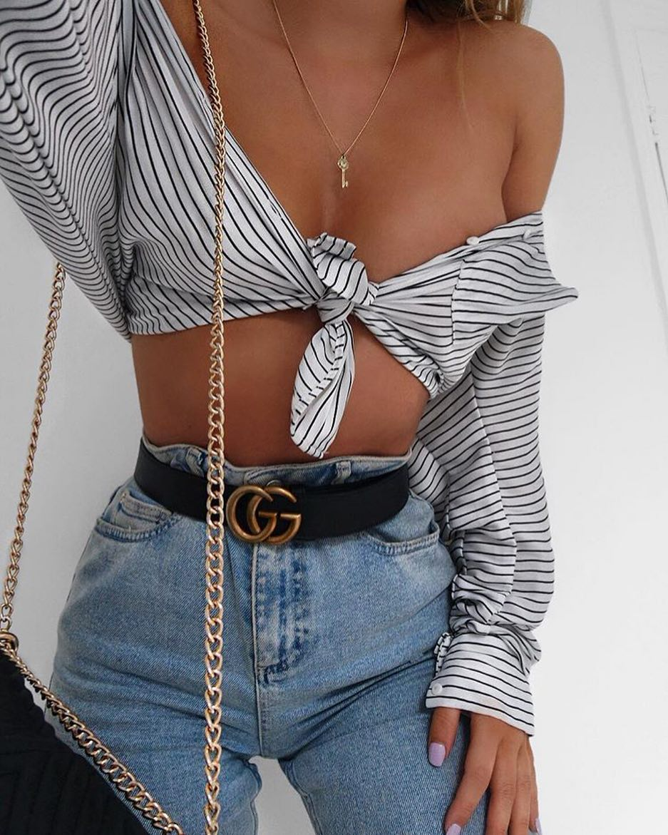 How To Wear Front Tied Crop Shirt With High Waisted Jeans This Summer 2020
