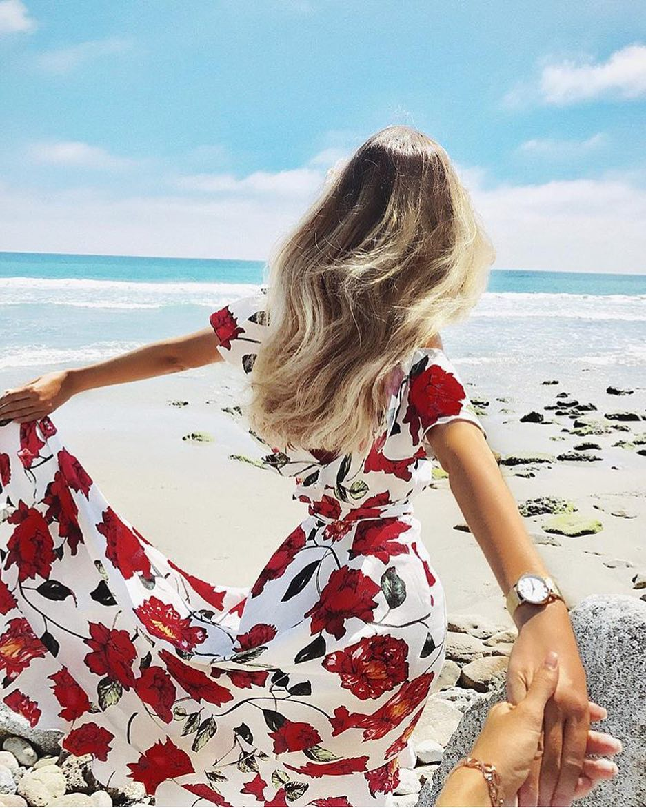 Summer Beachwear: White Maxi Gown In Red Floral Print 2019