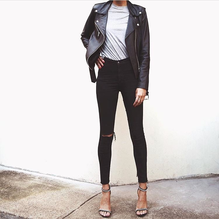 Edgy Casual Style: Black Leather Jacket, Basic Top, Black Skinnies And Chain Strap Heels 2020