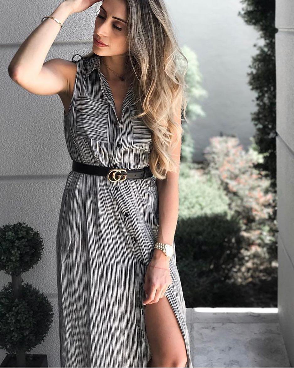 Summer Beachwear: Belted Black-White Pinstripe Sleeveless Shirtdress 2021
