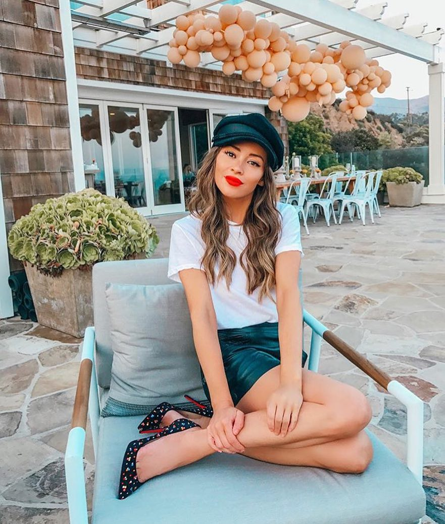 Casual Garden Party Outfit: Driver's Cap, White Tee And Black Leather Skirt 2020