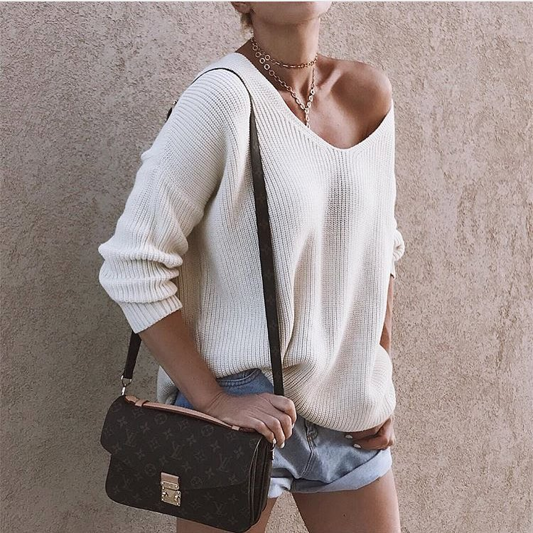 Italian Outfit For Spring: Slouchy Off-Shoulder White Sweater And Denim Shorts 2019