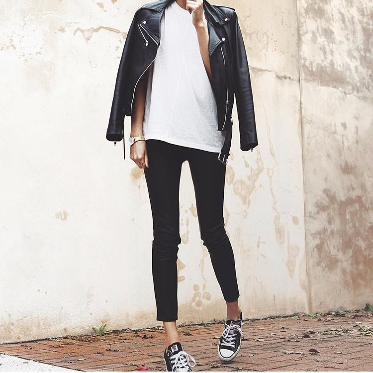 Monochrome Outfit Idea With Black Leather Jacket 2019
