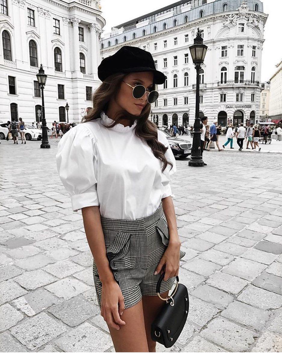 Summer Paris Outfit Idea: Black Driver's Cap, Puff Short Sleeve Blouse And Shorts 2020
