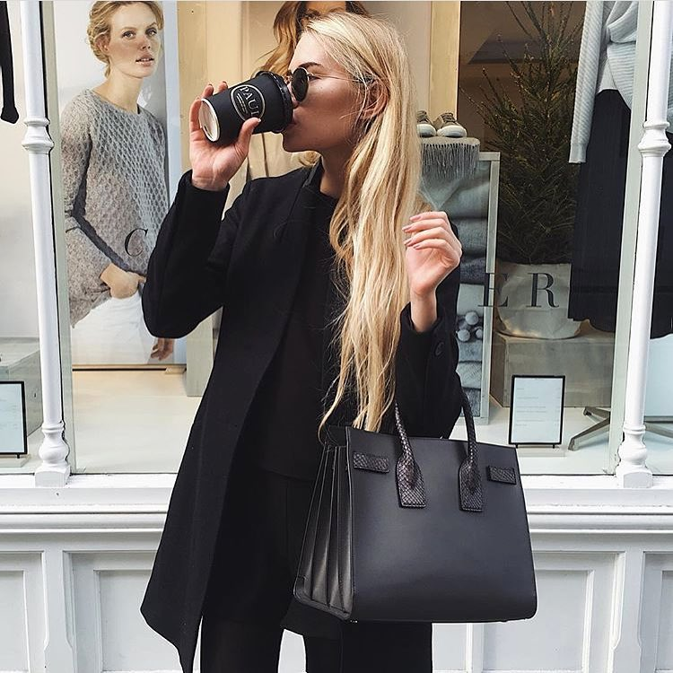 All Black Spring Outfit Idea: Black Coat, Black Sweaters And Pants 2020