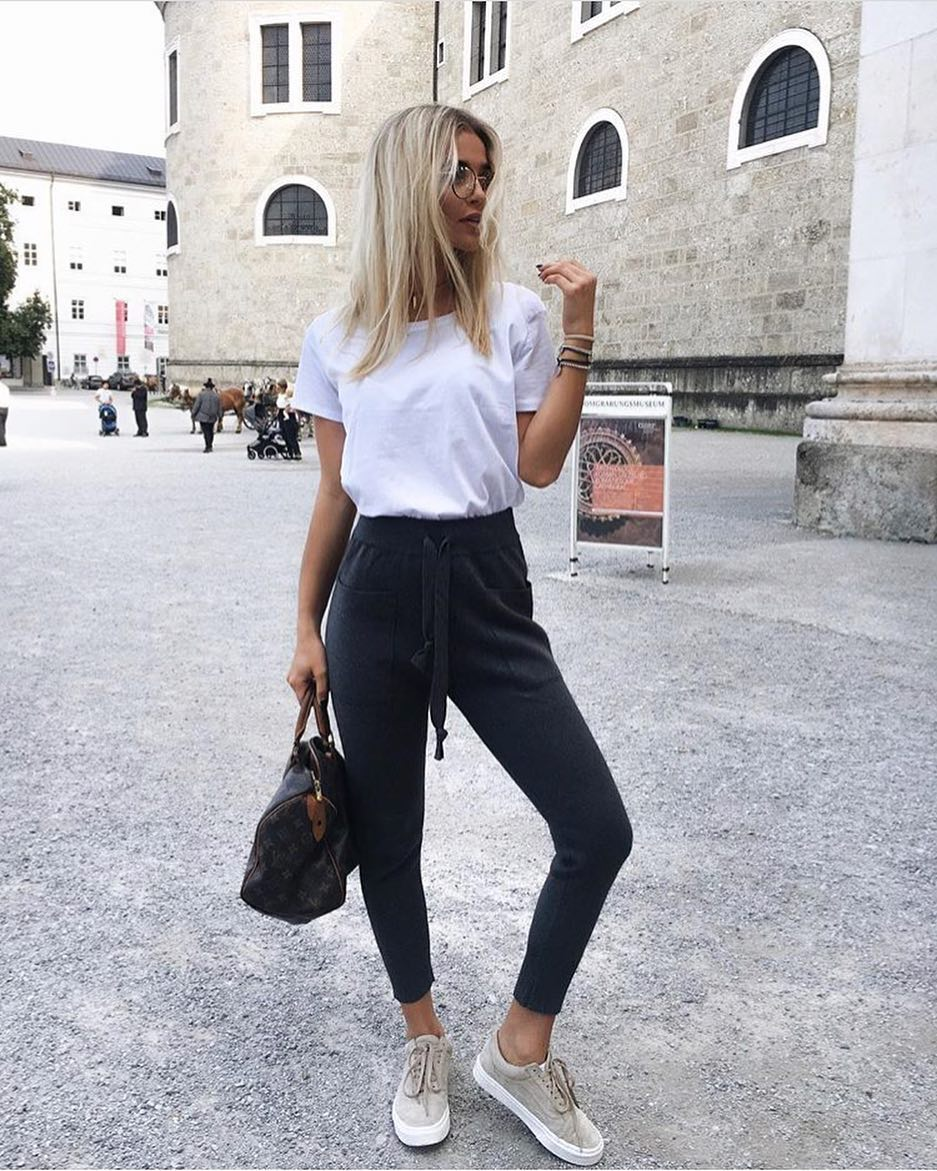 Milan Summer Outfit Idea: White Tee, Navy Joggers And Grey Kicks 2019