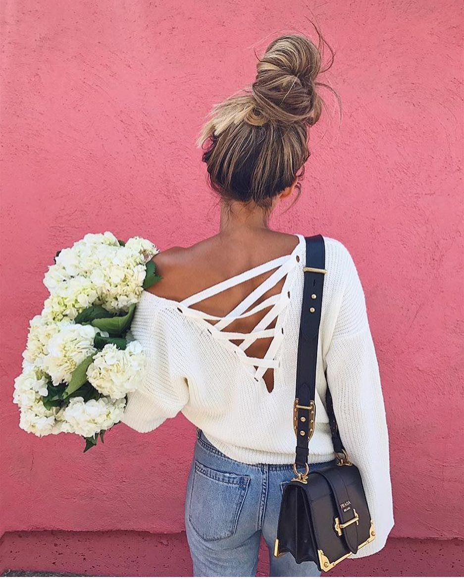 How To Wear White Open-Back Lace-Up Sweater This Summer 2019 ... 2b4cf5938