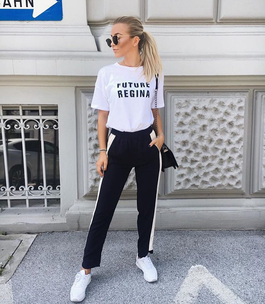 Black And White Athleisure Outfit Idea For Summer 2019
