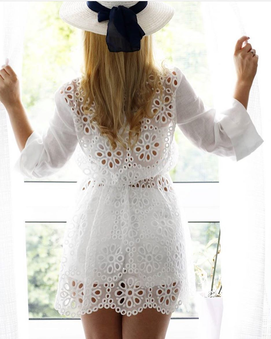 All White Outfit Idea For Summer: Crochet Dress 2020