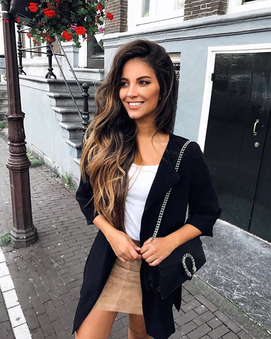 How To Wear Black Long Blazer With Suede Brown Skirt This Spring 2020