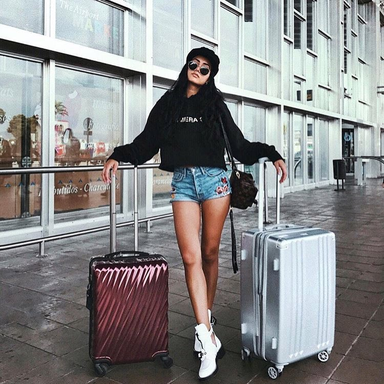 Black Hooded Sweatshirt With Denim Shorts And White Cut-Out Boots For Airport 2019