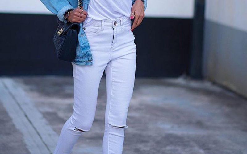 a987770cd91 Summer Double Denim Outfit Idea  Blue Denim Jacket And White Jeans ·  Blogger Instagram Fashion