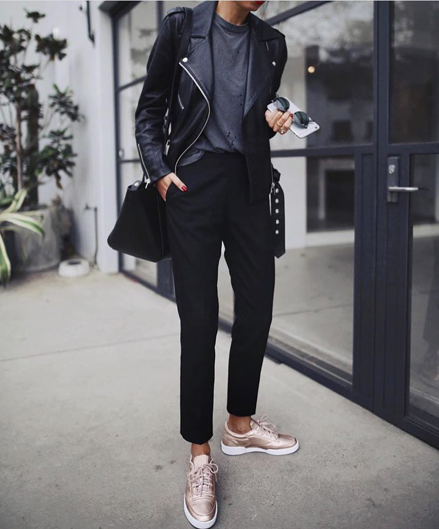 All Black Outfit With Metallic Gold Sneakers For Spring 2019