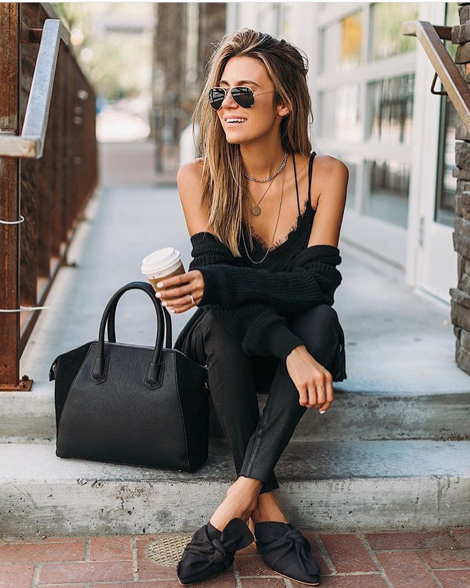 All Black Casual Outfit Idea For Summer 2019