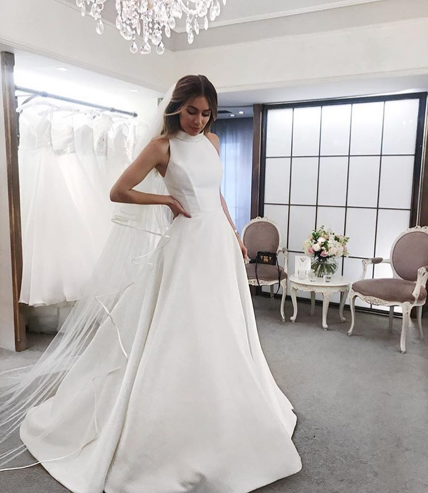 A Perfect Wedding Dress With High Neck And Ball Skirt 2019