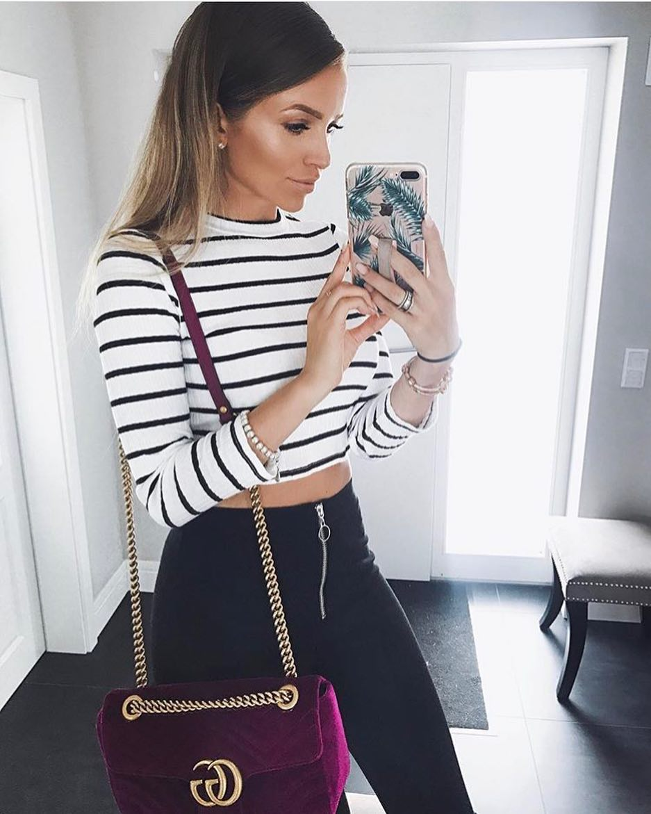 Spring Essentials: Striped White Crop Top And Black Skinnies 2019