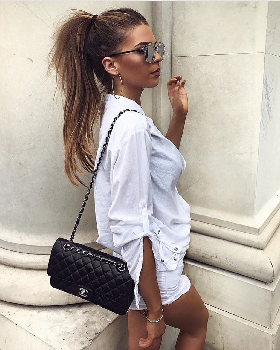 How To Wear Mirrored Sunglasses With All White Outfit This Summer 2019