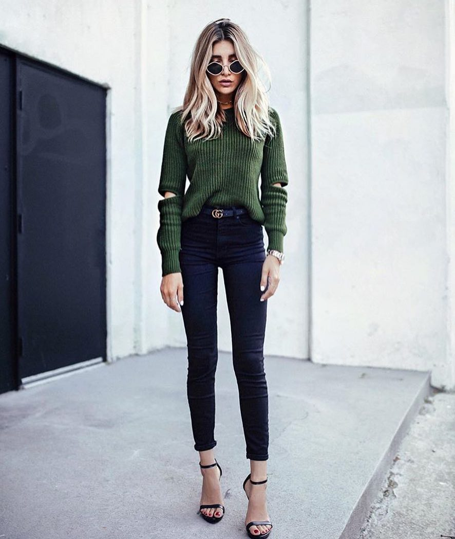 Spring Essentials: Cold Elbow Sweater And Skinny Jeans 2020