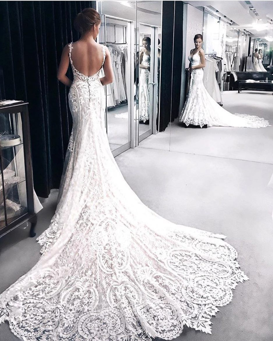Summer Lace White Wedding Floor Dress 2019