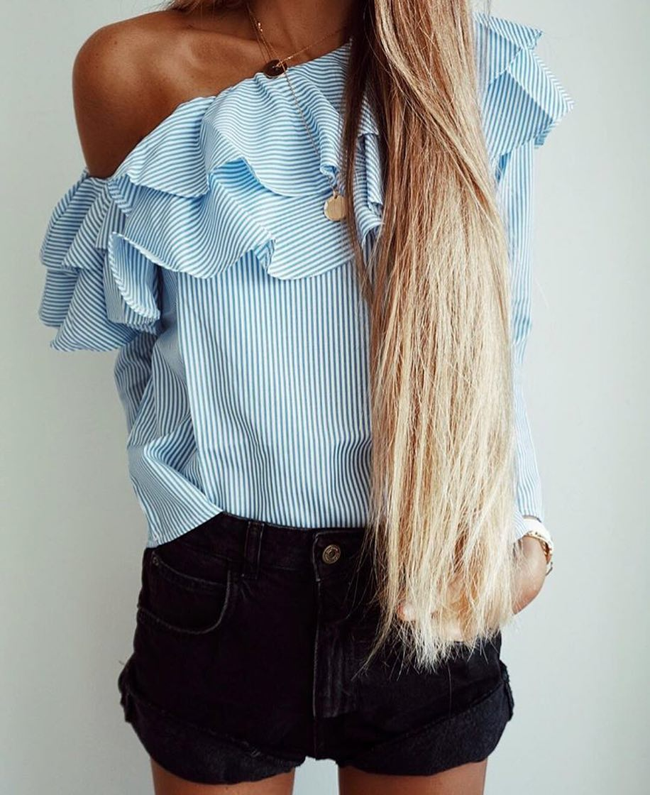 Pinstripe One Shoulder Ruffled Blouse And Black Denim Shorts For Summer 2019
