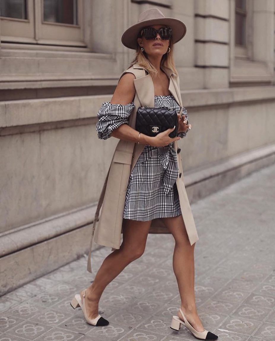 How To Wear Off Shoulder Dress With Beige Sleeveless Trench Coat 2019