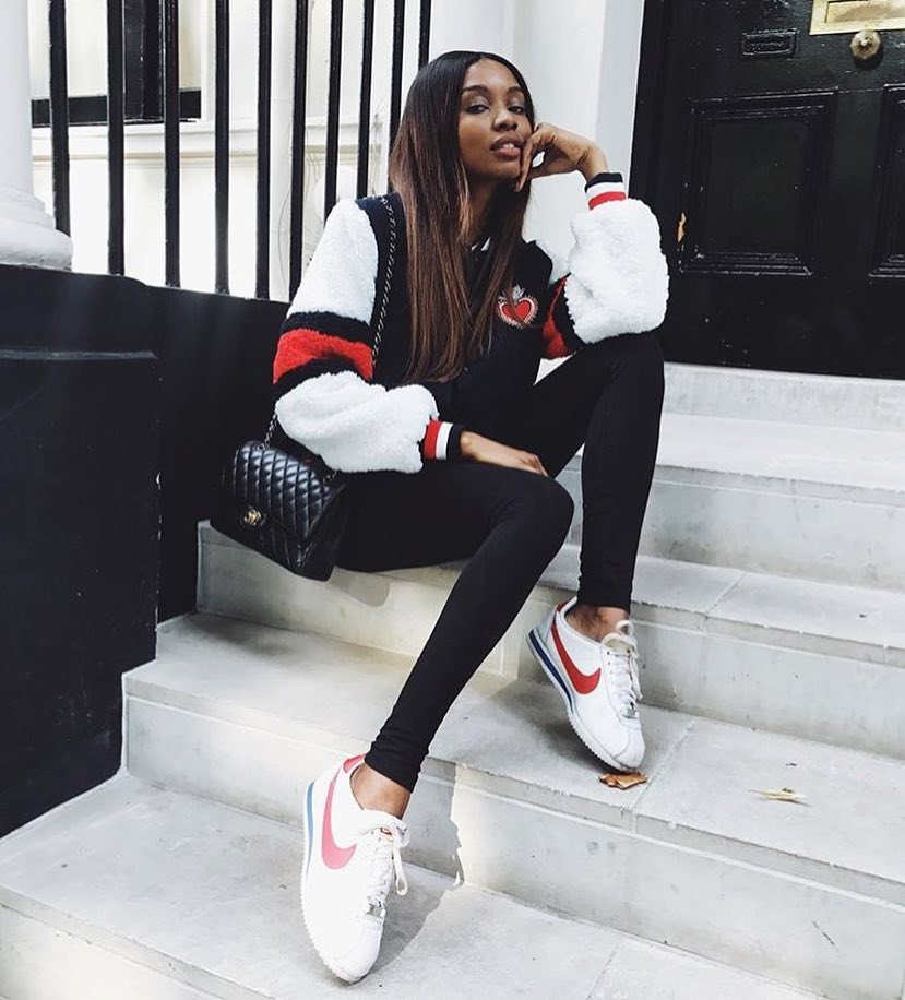 Fur Varsity Jacket With Black Leggings And White Sneakers For Fall 2019