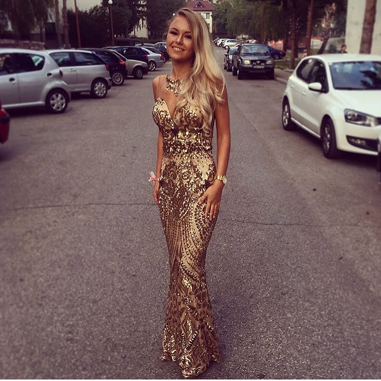Gold Maxi Sleeveless Dress For Special Summer Events 2020