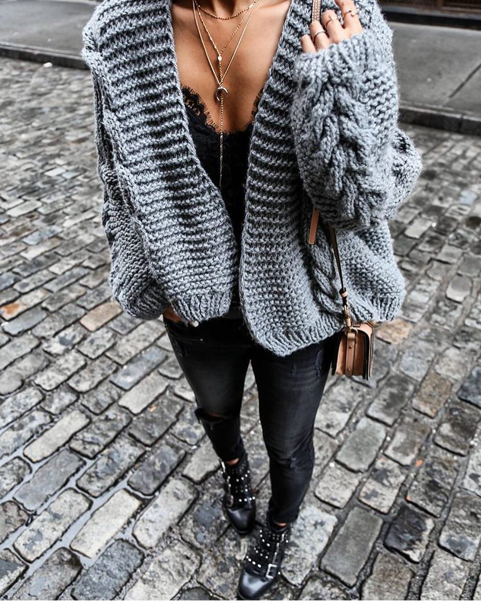 Bulky Cardigan In Grey And Lace Black Slip Top With Black Jeans And Buckled Boots 2019