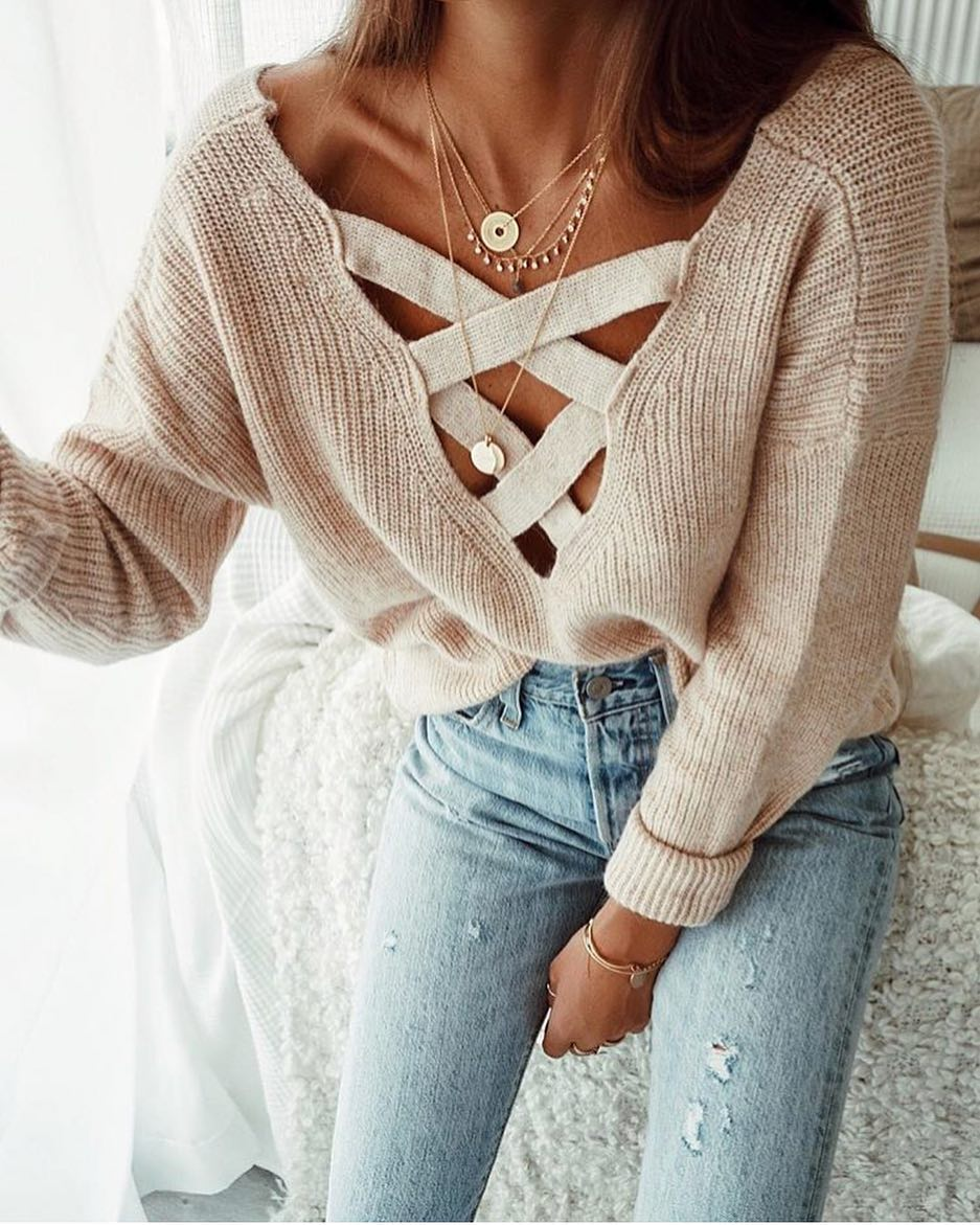 Strap Front Sweater In Beige And Light Blue Skinny Jeans For Spring 2020