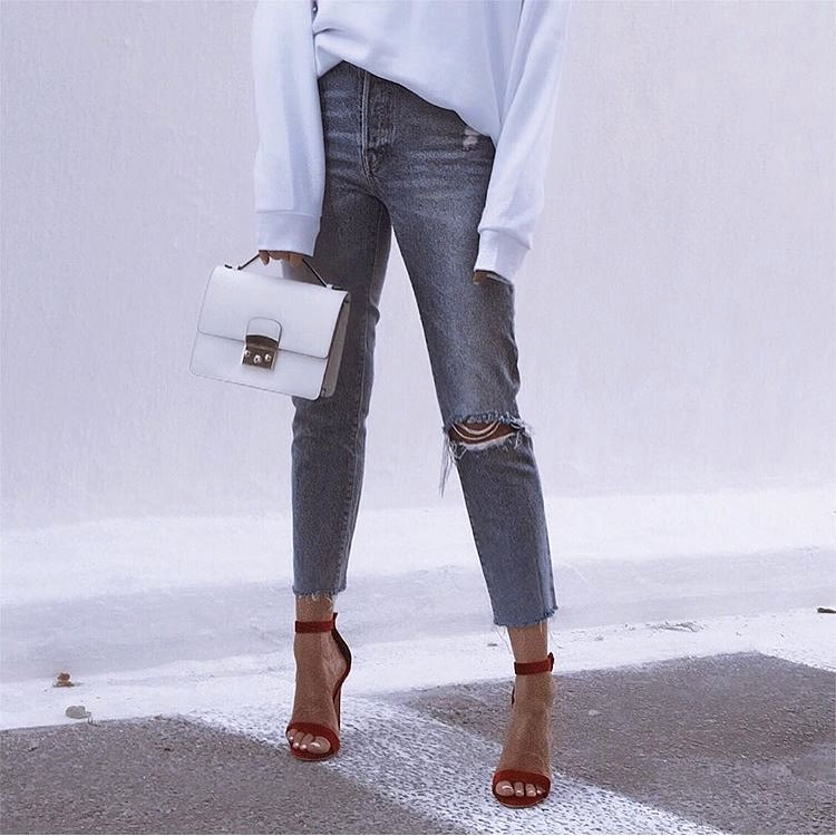 How To Wear Cherry Red Heeled Sandals With Ripped Jeans This Summer 2019