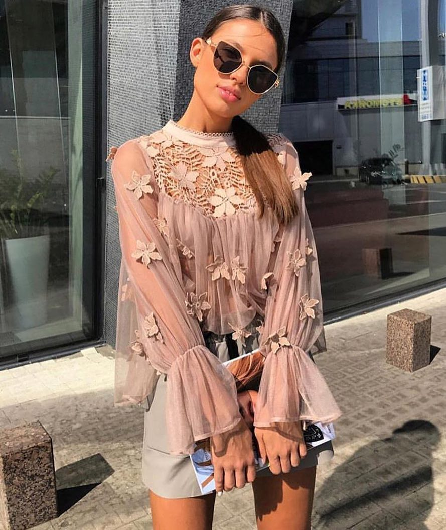 Floral Blush Semi-Sheer Blouse And Cream Grey Leather Mini Skirt For Summer 2021
