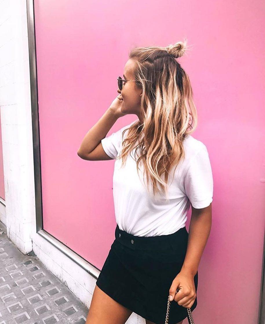 Summer Basics White Top And Black Mini Skirt 2020