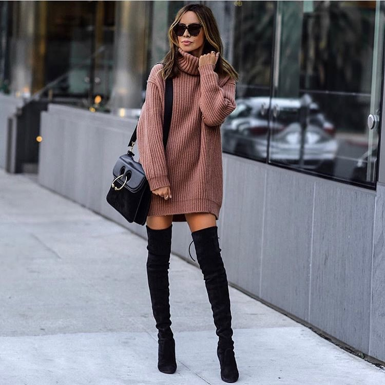 Blush Sweater Dress With Roll Neck Design And OTK Boots For Fall 2021