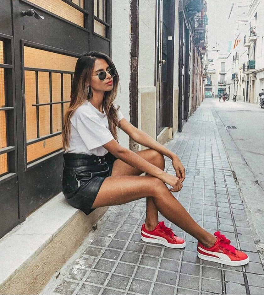 Summer Casual Edgy Style: White Tee, Black Leather Mini Skirt And Red Kicks 2020